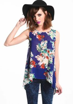 Cut-Out Floral Chiffon Top
