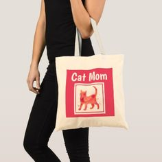 Cat Mom Pink and White Tote Bag - girly gift gifts ideas cyo diy special unique