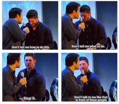 Jensen and Misha during the transitioning of panels