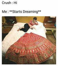 look at this lazy bride. Indian Bridal Outfits, Indian Bridal Lehenga, Bridal Dresses, Wedding Lehnga, Indian Dresses, Sabyasachi Bride, Lengha Saree, Bollywood Lehenga, Indian Wedding Photography Poses