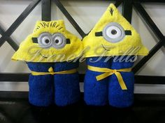 One and Two Eyed Yellow Monster 3D hooded towel Designs SET, Minion Inspired