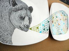 Bear Geometric Design Plates hand illustrated porcelain