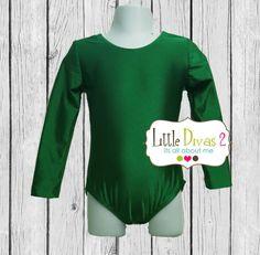 CHILD ShinyKelly Green Long Sleeve Leotard by LittleDivas2 on Etsy, $18.99