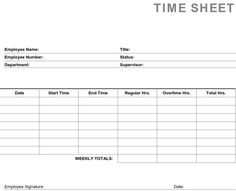 Daily Time Sheet Form  Free Printable Free And Business