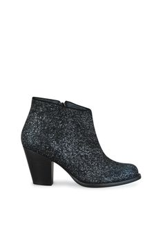 DUO Abel - black glitter ankle boots in choice of 3 widths
