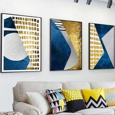 Colorful And Gold Geometric Pattern Decorative Painting Simple Art Canvas Prints And Posters Nordic Wall Picture Home Decoration