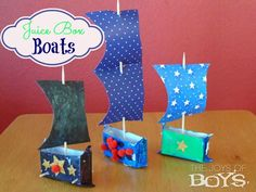 Summer Day Camp: Juice Box Boats Summer Day Camp: Juice Box Boote von The Joys of Boys Boat Crafts, Camping Crafts, Summer Crafts, Diy Crafts For Kids, Easy Crafts, Art For Kids, Easy Craft Projects, Arts And Crafts Projects, Craft Ideas