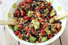Fiesta Quinoa Salad - Gluten-free + Vegan by Tasty Yummies, I could eat this every day. Vegan Gluten Free, Gluten Free Recipes, Vegetarian Recipes, Healthy Recipes, Healthy Oils, Lunch Recipes, Keto Recipes, Healthy Cooking, Healthy Eating