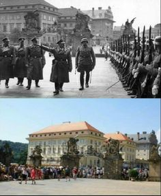 Then & Now Prague Castle, Himmler and Heydrich