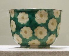 Side dish (mukōzuke) with camellia design, stoneware with enamel background and paper-resist blossoms with enamel centres, by Ogata Kenzan, century; in the Brooklyn Museum, New York. Ceramic Bowls, Ceramic Pottery, Pottery Art, Japanese Ceramics, Japanese Pottery, Ceramic Painting, Ceramic Art, Book Crafts, Arts And Crafts