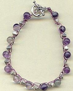 Jewelry Making Idea: Purple Gem Crocheted Bracelet
