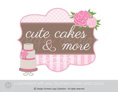 Shabby chic Bakery Logo With a Cake Illustration by DesignOrchard, $45.00