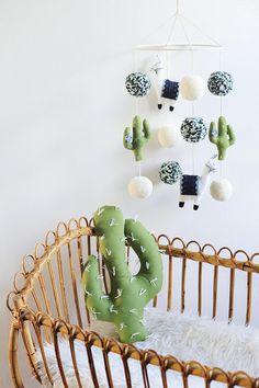 Llama & Cactus Nursery Mobile, Llama Mobile, Cactus Mobile, Llama Nursery Decor, Llama Nursery, Llama, Peruvian #etsy #baby #babyroom #boho #bohobaby #cactus #llama #affiliate