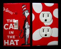 love this idea Reading Corner Kids, Dr Seuss Nursery, Unique Baby Shower, Cat Hat, Outlet Covers, Baby On The Way, Light Switch Covers, Room Themes, Kids Decor