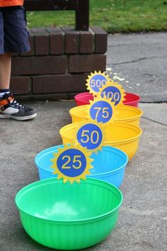 Super cute for summer time fun with kids!  You can use water balloons and it can cool the kids down when they pop :)