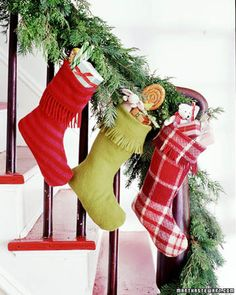 Make a bunch of cozy holiday stockings out of fringed scarves, then fill them with small wrapped gifts, stuffed toys, and candies.