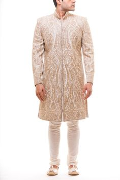 Off White Achkan with Full parsi and zirdozi work all over in the front and sleeve, paired with off white Pajami. Stole sold separately.