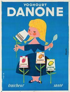 Vintage Poster - MORVAN HERVÉ - Miss Chloe - Picasa - Yoghurt - Dairy - Girl