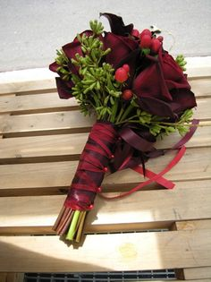 Burgundy Green Red Bouquet Fall Summer Winter Wedding Flowers Photos & Pictures - WeddingWire.com