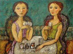 PLAYING CARDS, oil on canvas, 70x90cm,2010.  www.xpgallery.com © Svetlana Kurmaz Oil On Canvas, Folk Art, Mona Lisa, Artist, Paintings, Artwork, Russian Art, Image, Playing Cards