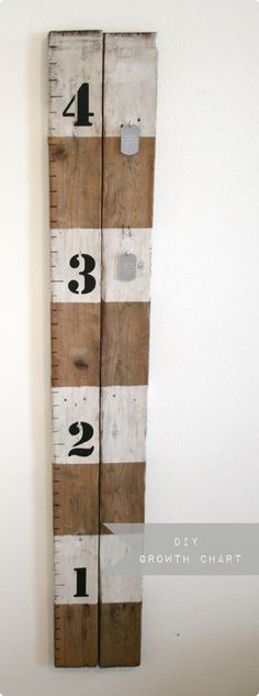 """Great way to make a measuring stick for your kids.  Can """"antique"""" wood by making a mixture of steel wool & vinegar, let it set an hour and then brush onto wood."""