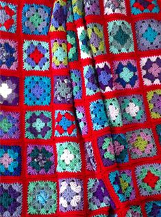 Crochet afghan crochet blanket handmade decor crochet granny square afghan, 20 shades, scarlet red border, MADE TO ORDER