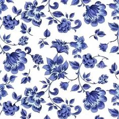 Simple Blue Flowers Fabric - Fleurs De Provence Provencal Blue And White By Peacoquettedesigns - Cotton Fabric By The Metre by Spoonflower Blue And White Fabric, White Fabrics, Blue And White Wallpaper, Blue Floral Wallpaper, Fabric Flowers, Blue Flowers, Exotic Flowers, Yellow Roses, Pink Roses