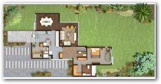 Plano de casa quinta con 2 dormitorios