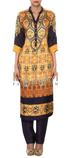 Buy Online from the link below. We ship worldwide (Free Shipping over US$100) Price- $139 Click Anywhere to Tag http://www.kalkifashion.com/mustard-suit-enhanced-in-digital-print-only-on-kalki.html