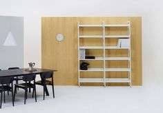 Modus Meta shelving in white with Modus Connect table
