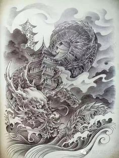 Dragon Tattoo Drawing, Dragon Head Tattoo, Dragon Sleeve Tattoos, Dragon Tattoo Designs, Japanese Dragon Tattoos, Japanese Tattoo Art, Japanese Tattoo Designs, Japanese Art, Cute Tattoos On Wrist