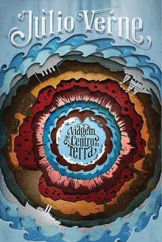 Cover for the new brazilian edition of Journey to the Center of the Earth by Jules Verne. Cover design + illustration + typography (using Pheaton by Kevin Cornell & Randy Jones). Best Book Covers, Beautiful Book Covers, Book Cover Art, Book Cover Design, Book Art, Jules Verne, Architecture Origami, Paper Art, Paper Crafts