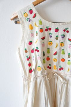 Embroidered fresh fruit cream linen dress by lethilogica on Etsy