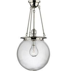 Rejuvenation-hood-chandelier-with-polished-nickel-and-glass-globe
