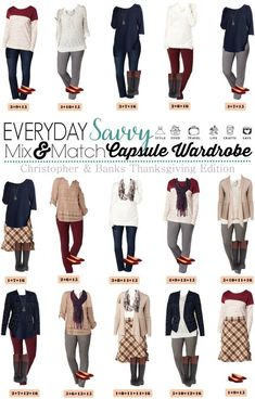 Here is a new board of mix and match Thanksgiving outfits. These pieces mix and match for 15 great outfits that are great for the whole Thanksgiving weekend. We have casual outfits for cooking and watching football, some a bit more dressy for Black Friday shopping or heading out to dinner or drinks with hometown friends and dressed up outfits for Thanksgiving dinner. No matter the occasion this Thanksgiving, these pieces will mix and match and keep you looking great!