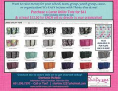 June is a GREAT month for Fundraising at Thirty-One!! Ask me for details!! I'd LOVE to help raise money for your charity, cause, team, school, group, or organization! It's SO EASY!!   www.mythirtyone.com/stephaniemcnelly