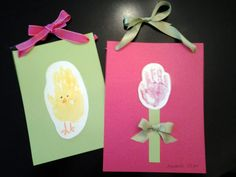 Saw these ideas on pinterest and created with my kids. Handprint Chick and Handprint Tulip for Spring / Easter Kid Crafts www.itsybelle.com