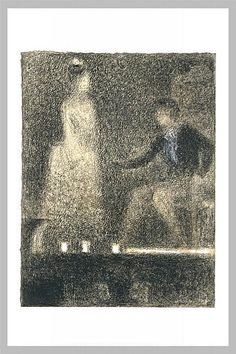 The scene in the theater, Crayon by Georges Pierre Seurat (1859-1891, France)