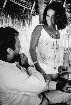 Richard Burton and Elizabeth Taylor on the set of The Night of the Iguana, 1963