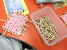 Math peg game, pin the number sentence to the correct sum. You could also do this with subtraction, multiplication and division.