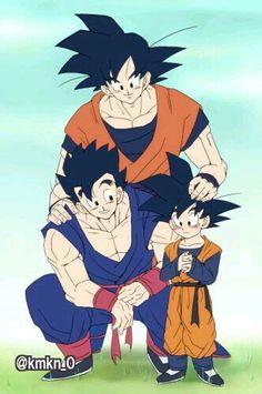 Goku with his sons Gohan and Goten Dragon Ball Gt, Dragon Ball Z Shirt, Gohan And Goten, Goku And Gohan, Son Goku, Dbz Vegeta, Manga Dbz, Goku Pics, Goku And Chichi