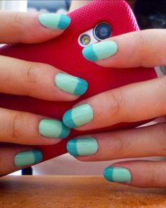 Spearmint Nails  http://makeupbox.tumblr.com/post/20583549799/spearmint-tips-nails-for-spring-teal-and-mint