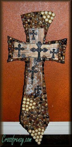 Decorative crossrock cross  mosaic cross beaded by StoneFrenzy, $64.95
