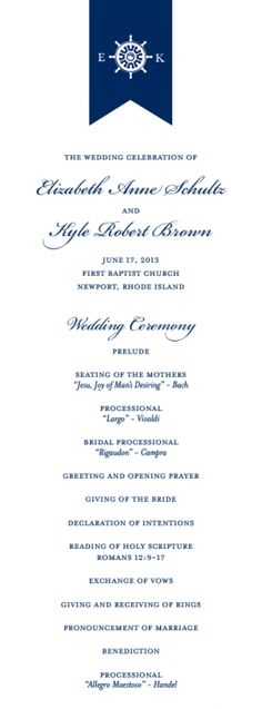 Ships Wheel Monogram Wedding Program by Knots and Pearls | www.knotsandpearls.com