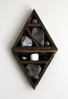Previous pinner: crystal and mineral stone collection in handmade geometric diamond wood curio shelf Wooden Shelf Design, Wooden Shelves, Wood Shelf, Crystal Shelves, Padded Wall, Crystal Decor, Crystal Box, Crystal Wall, Crystal Diamond