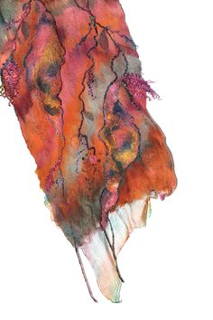 Nuno Felted Scarf Felt Scarf Gift For Her Long by FeltedPleasure