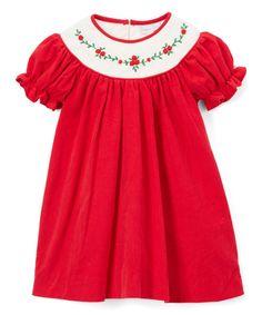 Red Floral Bishop Dress - Infant & Toddler