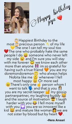 Happy Birthday Best Friend Quotes, Happy Birthday Quotes For Friends, Happy Birthday Captions, Happy Birthday My Love, Bff Quotes Funny, Wish Quotes, Real Friendship Quotes, Girl Friendship, Besties