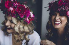 magenta flower crown
