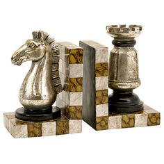 Chess piece bookends.